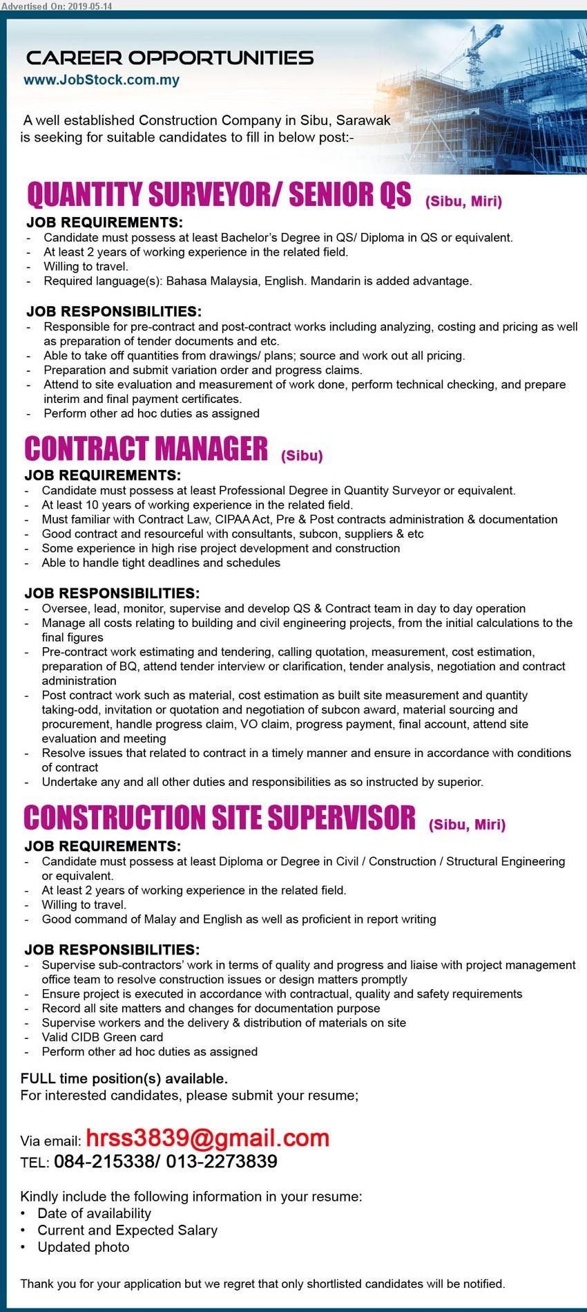Advertisement Detail - ADVERTISER (Construction Company)