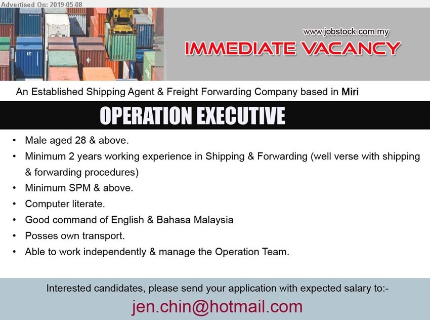 Advertisement Detail - ADVERTISER (Shipping Agent & Freight