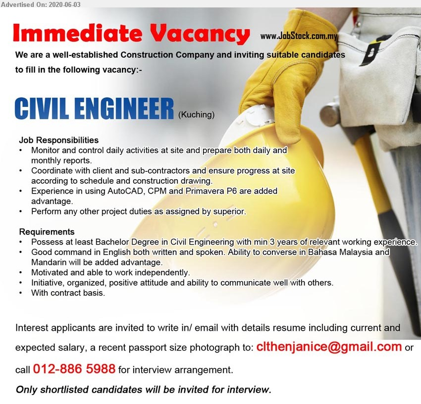 Advertisement Detail Advertiser Construction Company